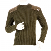 Niffi - Forrester - Schurwoll-Pullover mit Harris Tweed Patches - Oliv