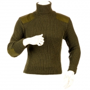 Niffi - Chatham - Schurwoll-Pullover mit Patches - Oliv