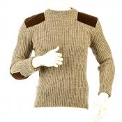 Niffi - York Crew - Schurwoll-Pullover mit Patches - Braun