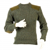 Niffi - Rothley Crew - Schurwoll-Pullover mit Leder-Patches - Derby Tweed