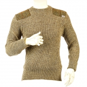 Niffi - Forrester - Schurwoll-Pullover mit Harris Tweed Patches - Braun