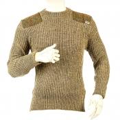 Niffi - Forrester - Schurwoll-Pullover mit Harris Tweed Patches - Braun