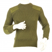 Niffi - York Crew - Schurwoll-Pullover mit Patches - Oliv S