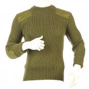 Niffi - York Crew - Schurwoll-Pullover mit Patches - Oliv