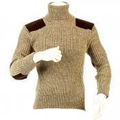 Niffi - Chatham - Schurwoll-Pullover mit Patches - Braun