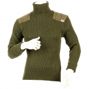 Niffi - Ghillie - Schurwoll-Pullover mit Harris Tweed Patches - Oliv