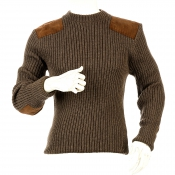 Niffi - Rothley Crew - Schurwoll-Pullover mit Leder-Patches - Braun