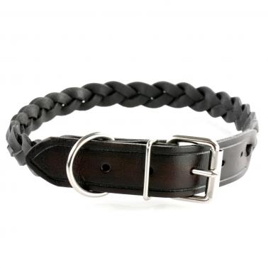 Hundehalsband - Leder geflochten 55cm