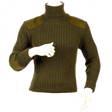 Niffi - Chatham - Schurwoll-Pullover mit Patches - Oliv S