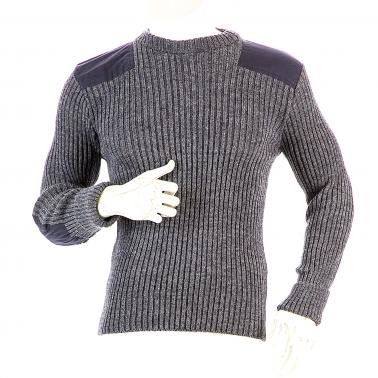 Niffi - York Crew - Schurwoll-Pullover mit Patches - Grau