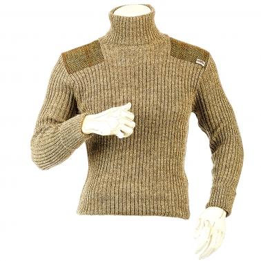 Niffi - Ghillie - Schurwoll-Pullover mit Harris Tweed Patches - Braun S