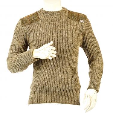 Niffi - Forrester - Schurwoll-Pullover mit Harris Tweed Patches - Braun S