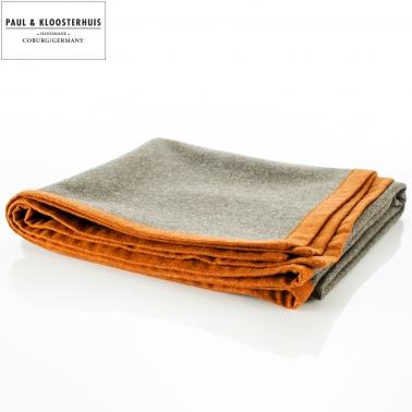 Paul & Kloosterhuis - Lodendecke Svenska Militär Loden - Grau / Orange 150 x 150cm