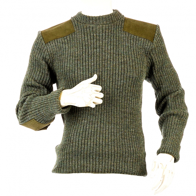 Niffi - Rothley Crew - Schurwoll-Pullover mit Leder-Patches - Derby Tweed S