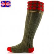 Jagd-Kniestumpf - Kendal - Shooting-Socks - Grün/Rot