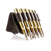 Gürtel-Patronenclip Leder - 6 x Kugel