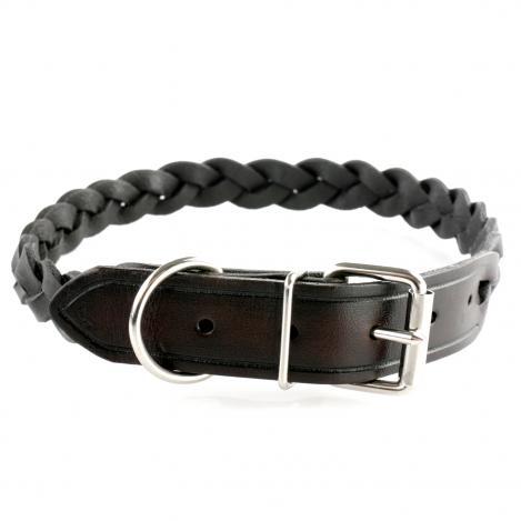 Hundehalsband - Leder geflochten